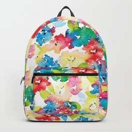 Colorful Flower Fabric Design by #MahsaWatercolor Backpack
