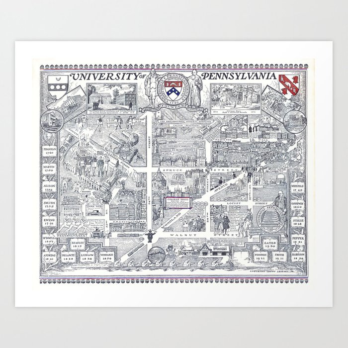 PHILADELPHIA University Map PENNSYLVANIA Dorm Decor Art Print By - Philadelphia university map
