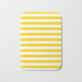 Narrow Horizontal Stripes - White and Gold Yellow Bath Mat