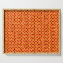 orange circle polkas japanese pattern Serving Tray