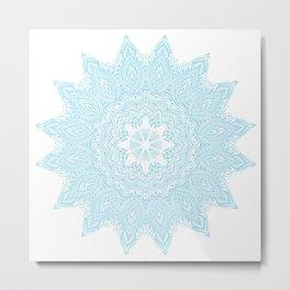 Moonlight Blue Mandala Bohemian Decor Medallion Metal Print