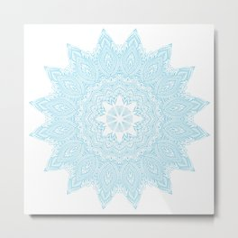 Moonlight Blue Mandala Bohemian Decor Medallion Metal Print