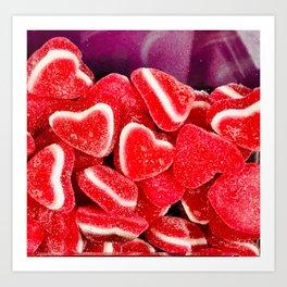 Pink Candy Hearts Art Print