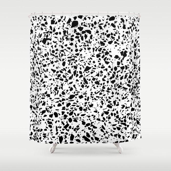 Black And White Dalmatian Pattern Dots Terrazzo Print Shower Curtain