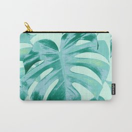 Tropical Monstera Leaves Dream #4 #tropical #decor #art #society6 Carry-All Pouch