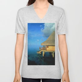 Over-the-Water Island Bungalow Unisex V-Neck