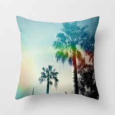 Palm trees of Barcelona Throw Pillow