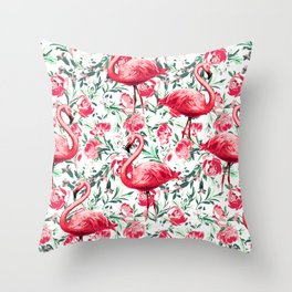 Flowers and Flamingos Throw Pillow