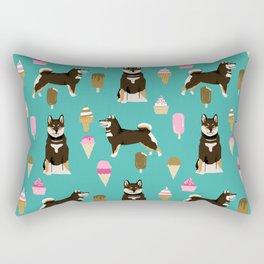 shiba inu black and tan ice cream dog breed pet pattern dog mom Rectangular Pillow