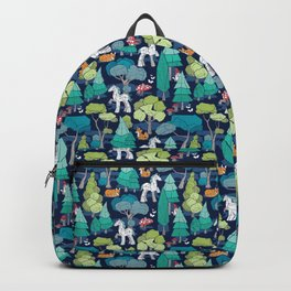 Geometric whimsical wonderland // navy blue background green forest with unicorns foxes gnomes and mushrooms Backpack