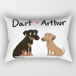 """Custom Dog Art """"Dart and Arthur"""" Rectangular Pillow"""