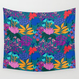 Psychedelic Jungle Garden in Pond Teal Wall Tapestry