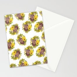 Butter Yellow Pansies Pattern Stationery Cards