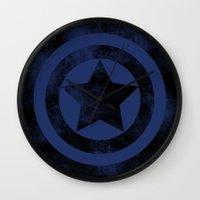 steve rogers Wall Clocks featuring Steve Rogers 008 by TheTreasure