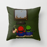 mario bros Throw Pillows featuring mario bros by berkozturk