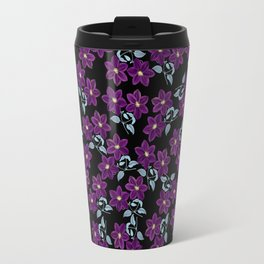 'Violet Compliment' Purple & Blue flowers design Travel Mug