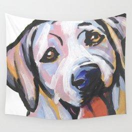 Yellow Lab Labrador Retriever Dog Portrait Pop Art painting by Lea Wall Tapestry