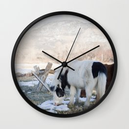 mini horses and a view Wall Clock