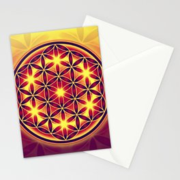 FLOWER OF LIFE batik style yellow red Stationery Cards
