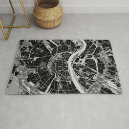Cologne map black and white Rug