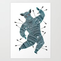 warrior Art Prints featuring Warrior  by Zsalto