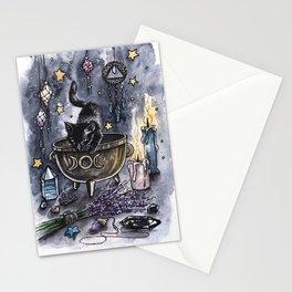 Black cat, magic illustration Stationery Cards