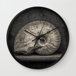 Ammonite Fossil in Sepia Wall Clock