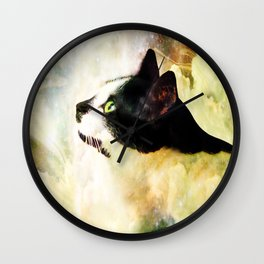 Gypsy Da Fleuky Cat and the Kitty Whisker Wishes Wall Clock