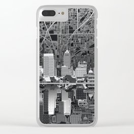 indianapolis city skyline black and white Clear iPhone Case