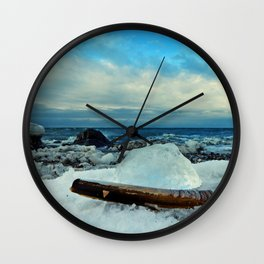 Spring Comes to the Beach in Ice that glows Blue Wall Clock