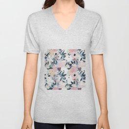 Pretty Grayish Blue Watercolor Pink & White Floral Design Unisex V-Neck