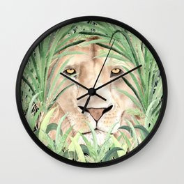 Lion staring through savanna grass, watercolor art.  Wall Clock