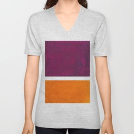 Purple Wine Yellow OchreMid Century Modern Abstract Minimalist Rothko Color Field Squares Unisex V-Neck