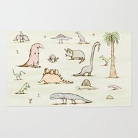 dinosaurs Area & Throw Rugs featuring Dinosaurs by Sophie Corrigan