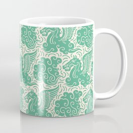 Pegasus Pattern Beige and Green Coffee Mug