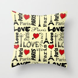 Paris text design illustration Throw Pillow