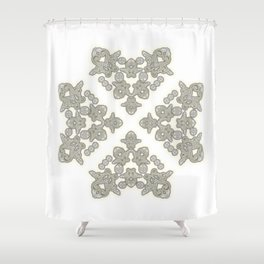 'Love 03' - Dutch heart of lace in grey and soft yellow Shower Curtain