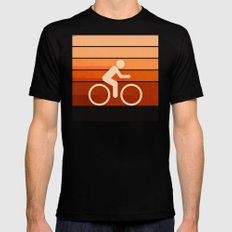 Biking Orange Mens Fitted Tee Black LARGE