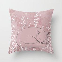 Sleepy Cat - Botanical Pink Throw Pillow