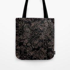 Pink coral tan black floral illustration pattern Tote Bag