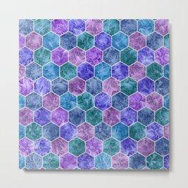 Frozen Leaves in Hexagonal Pattern Metal Print