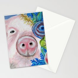 This Little Piggy Found Some Flowers Stationery Cards