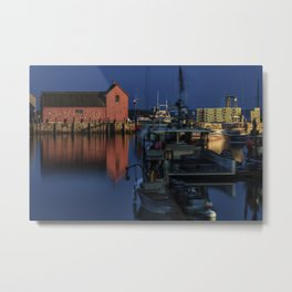 Moonlit Rockport Harbor Metal Print
