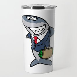 MEAN Business SHARK Suit and Tie Broker Trader Travel Mug