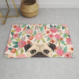Pug floral dog portrait Pug dog peeking face gifts for dog lover pugs Rug