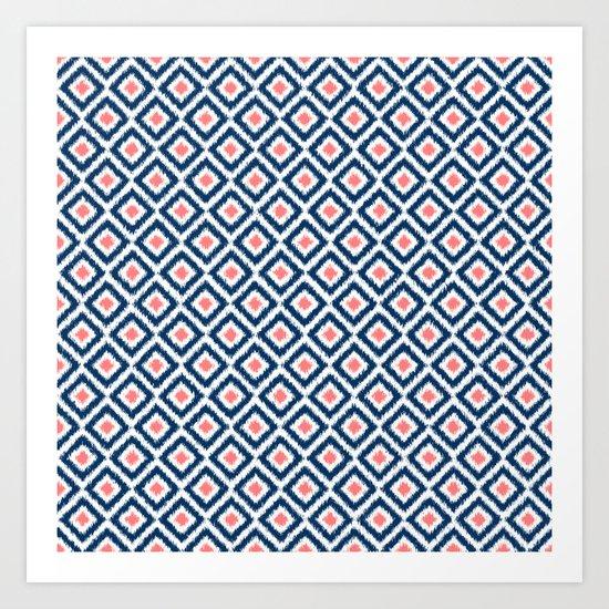 Navy Blue and Coral Diamond Ikat Pattern Art Print
