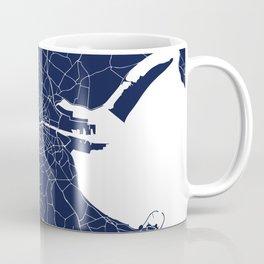Dublin Street Map Navy Blue and White Coffee Mug