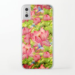 Floral Lotus Flowers Pattern with Dragonfly Clear iPhone Case