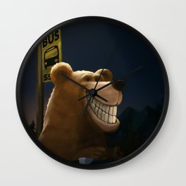 An early start, a travelling bear adventure Wall Clock