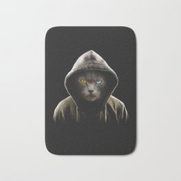 Cool Black Cat Hooded Pullover Bath Mat